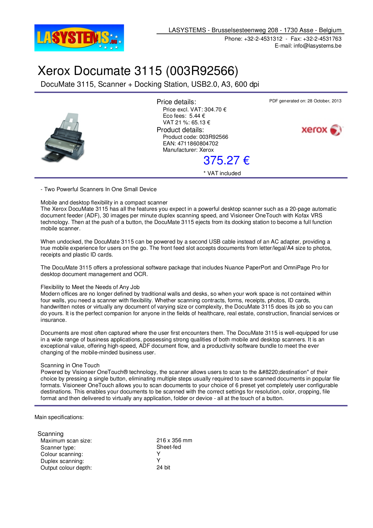 pdf for Xerox Scanner DocuMate 3115 manual