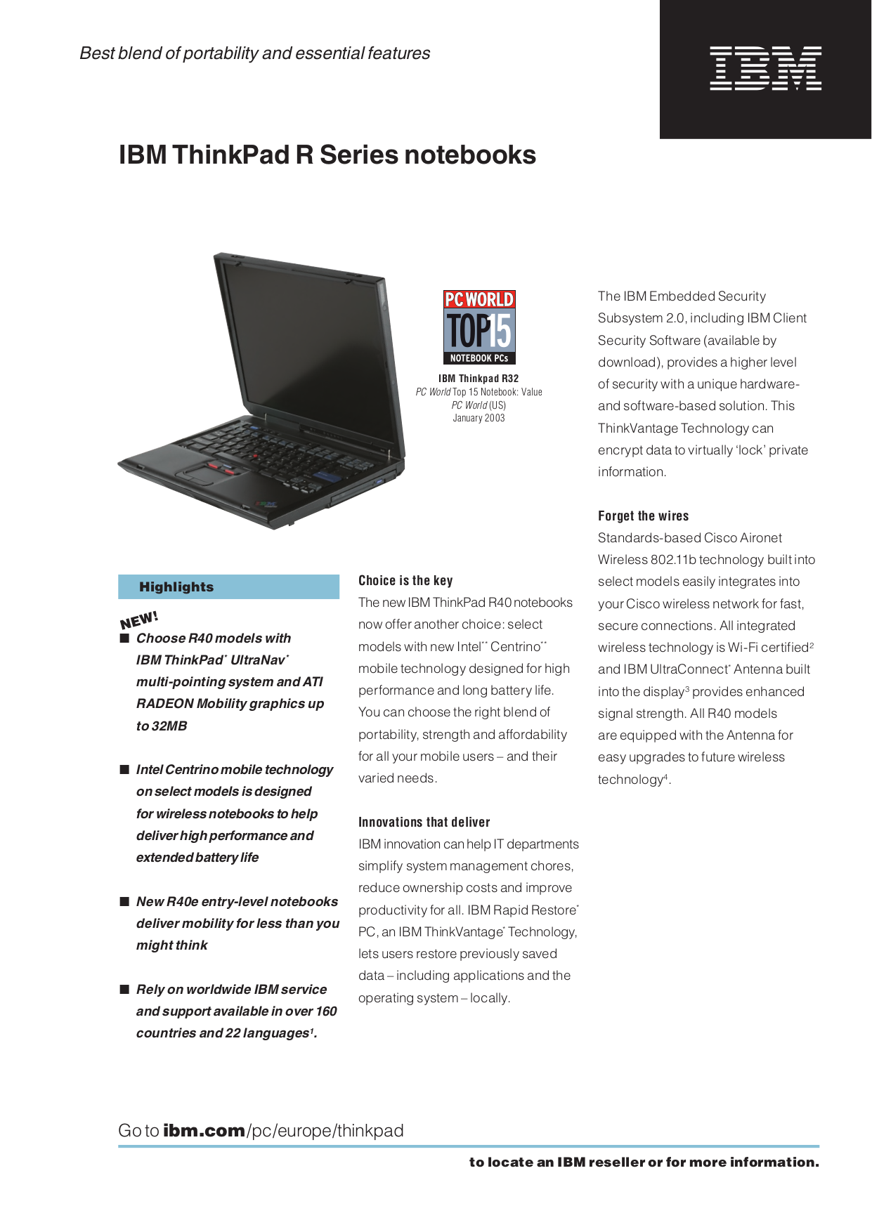 pdf for IBM Laptop ThinkPad R40e manual