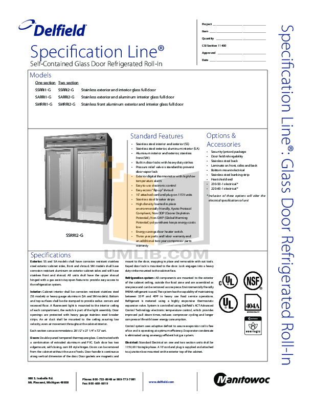 pdf for Delfield Refrigerator SSRRI2-G manual