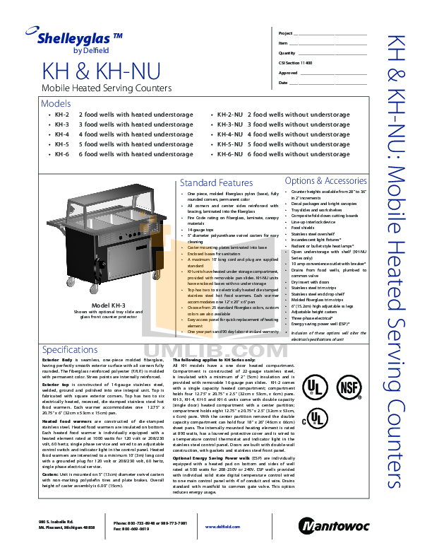 pdf for Delfield Other KH-5-NU Food Warmers manual