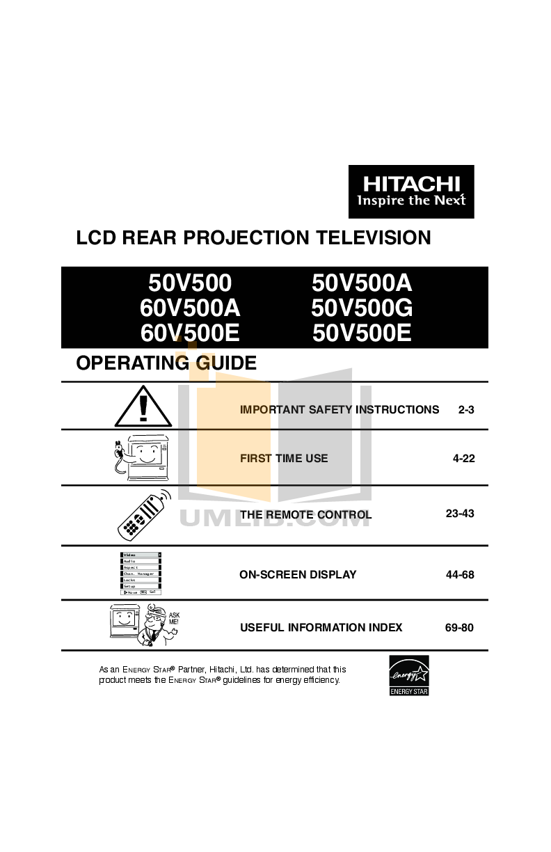 pdf for Hitachi TV 50V500E manual