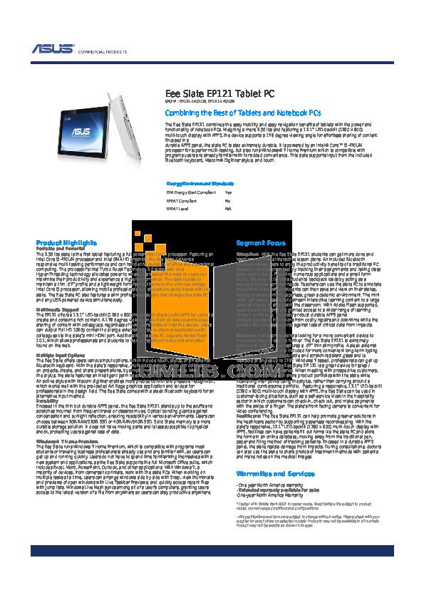 pdf for Asus Tablet Eee Slate EP121 64GB manual