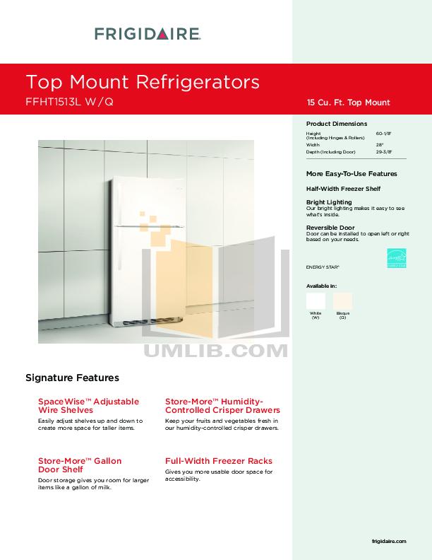 pdf for Frigidaire Refrigerator FFHT1513L manual