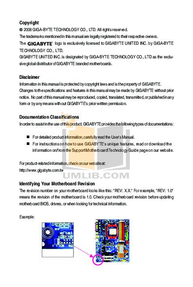 PDF manual for Gigabyte Other GA-M68SM-S2L Motherboards