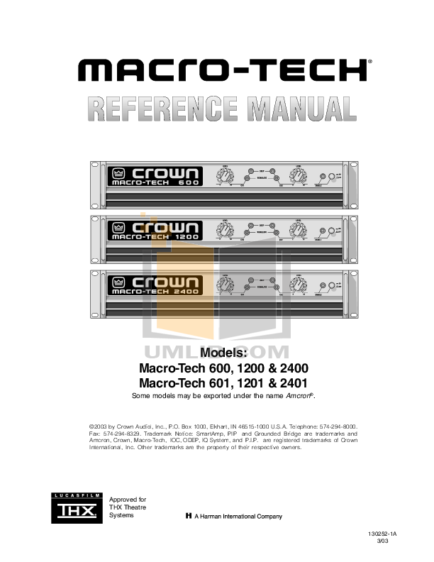 pdf for Crown Other MT-BB Input Module manual