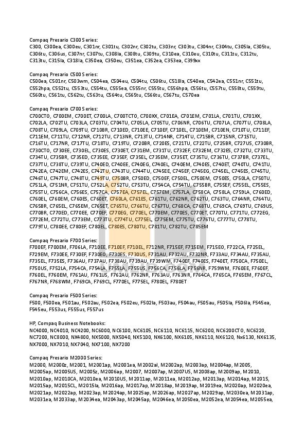 HP Laptop Compaq Presario,Presario X1058 pdf page preview