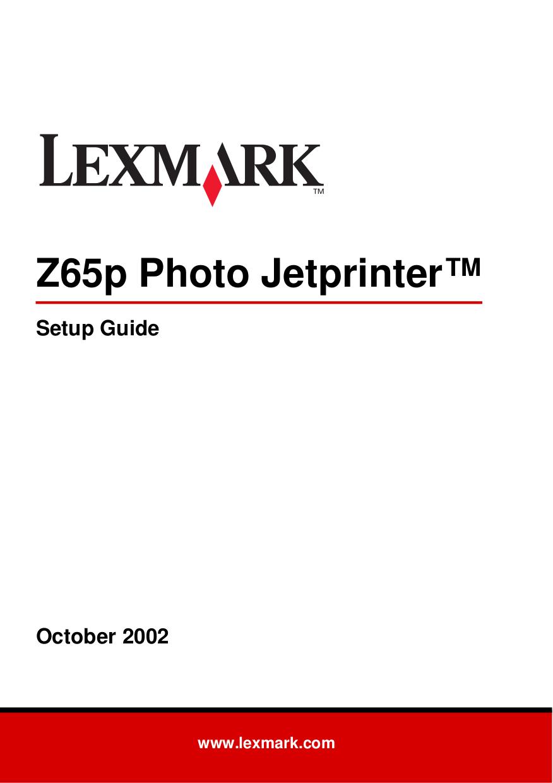pdf for Lexmark Printer Z65p manual