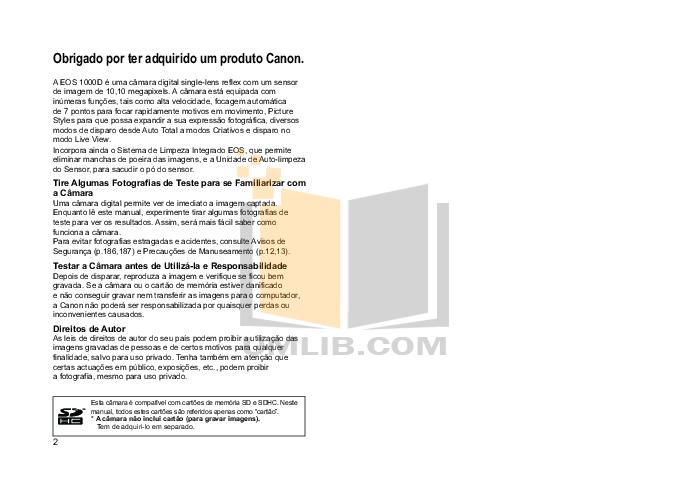 Canon Digital Camera EOS 1000D pdf page preview