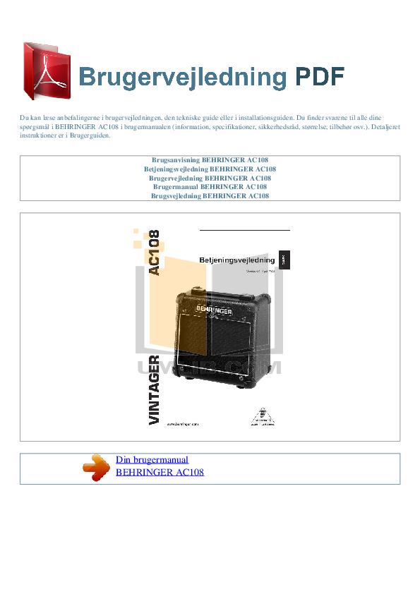 pdf for Behringer Amp AC108 manual