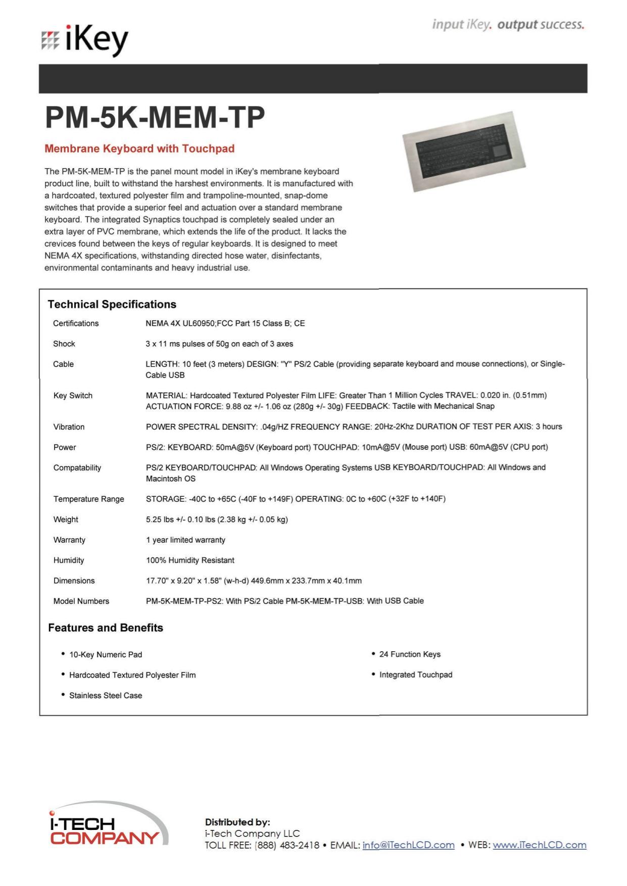 pdf for iKey Keyboard PM-5K manual