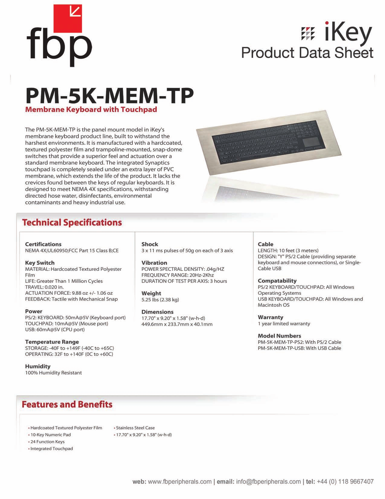iKey Keyboard PM-5K pdf page preview