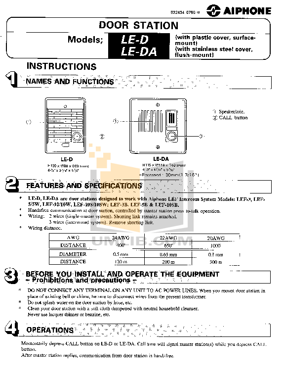 pdf for Aiphone Other LE-D Intercoms manual