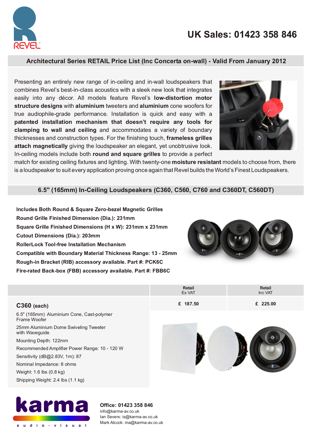 pdf for Revel Speaker Concerta IW80 manual