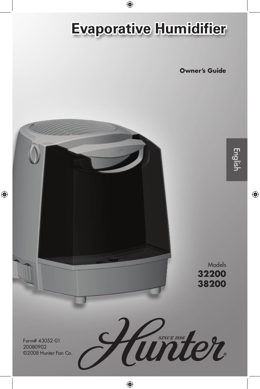 pdf for Hunter Humidifier 32200 manual