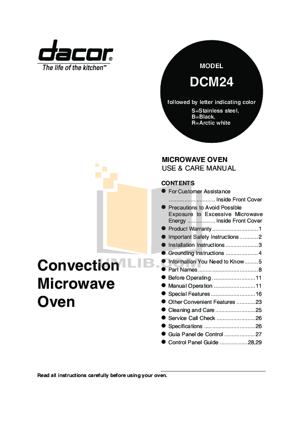 pdf for Dacor Microwave DCM24 manual