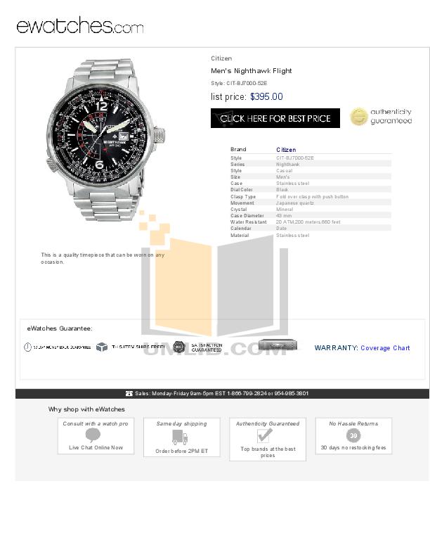 download free pdf for citizen nighthawk bj7000 52e watch manual rh umlib com T a Citizen Nighthawk Does Citizen Nighthawk