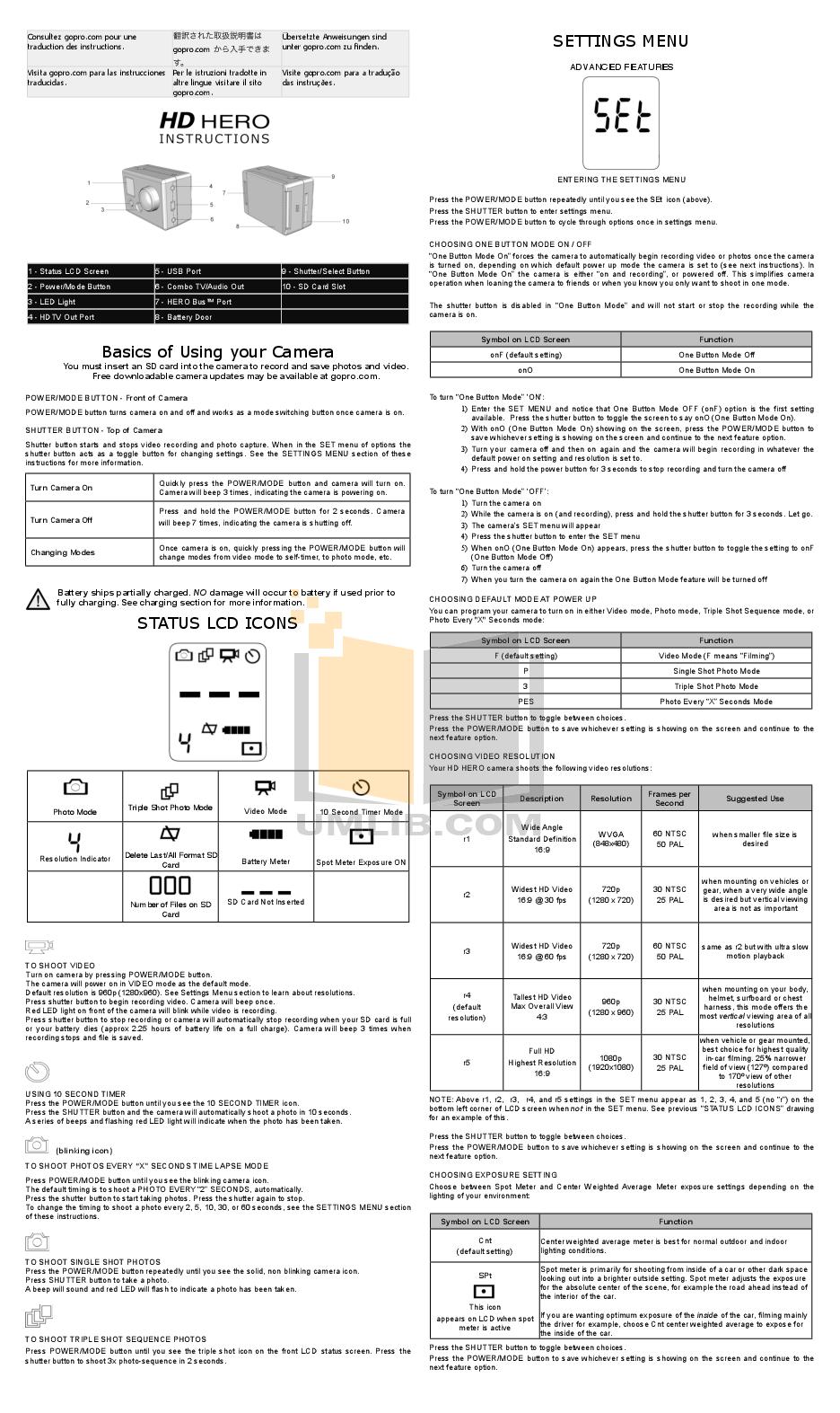 pdf for GoPro Digital Camera Hero 3 Helmet HERO manual