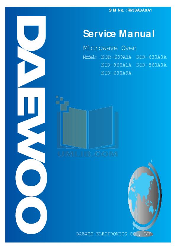 pdf for Daewoo Microwave KOR-860A manual