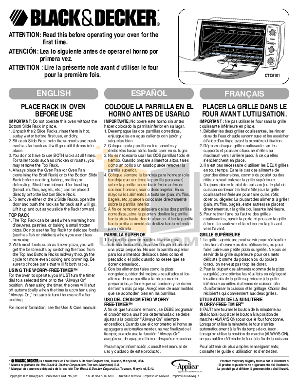 pdf for BlackAndDecker Oven CTO8101 manual