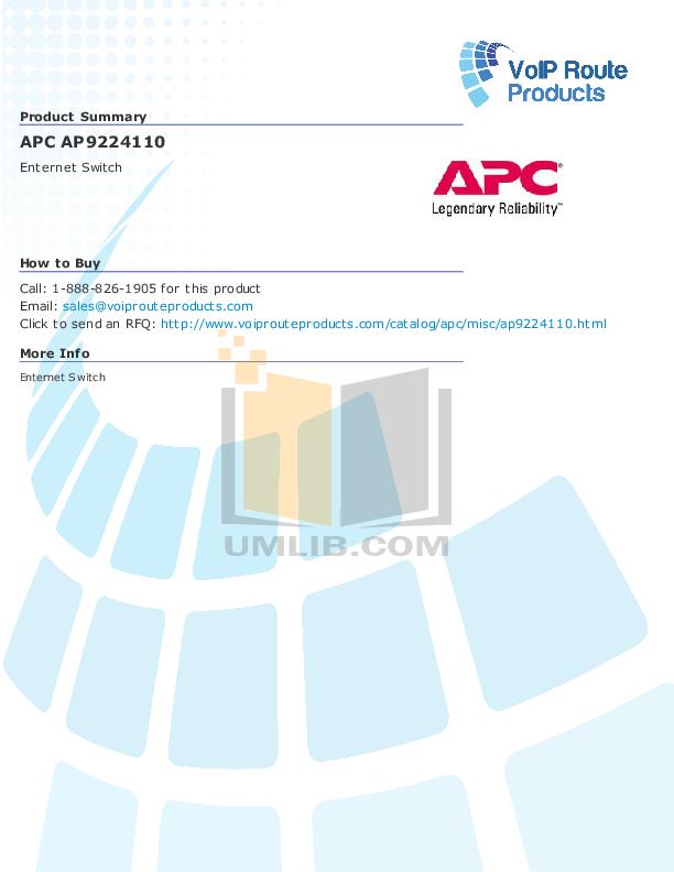 pdf for APC Switch AP9224110 manual