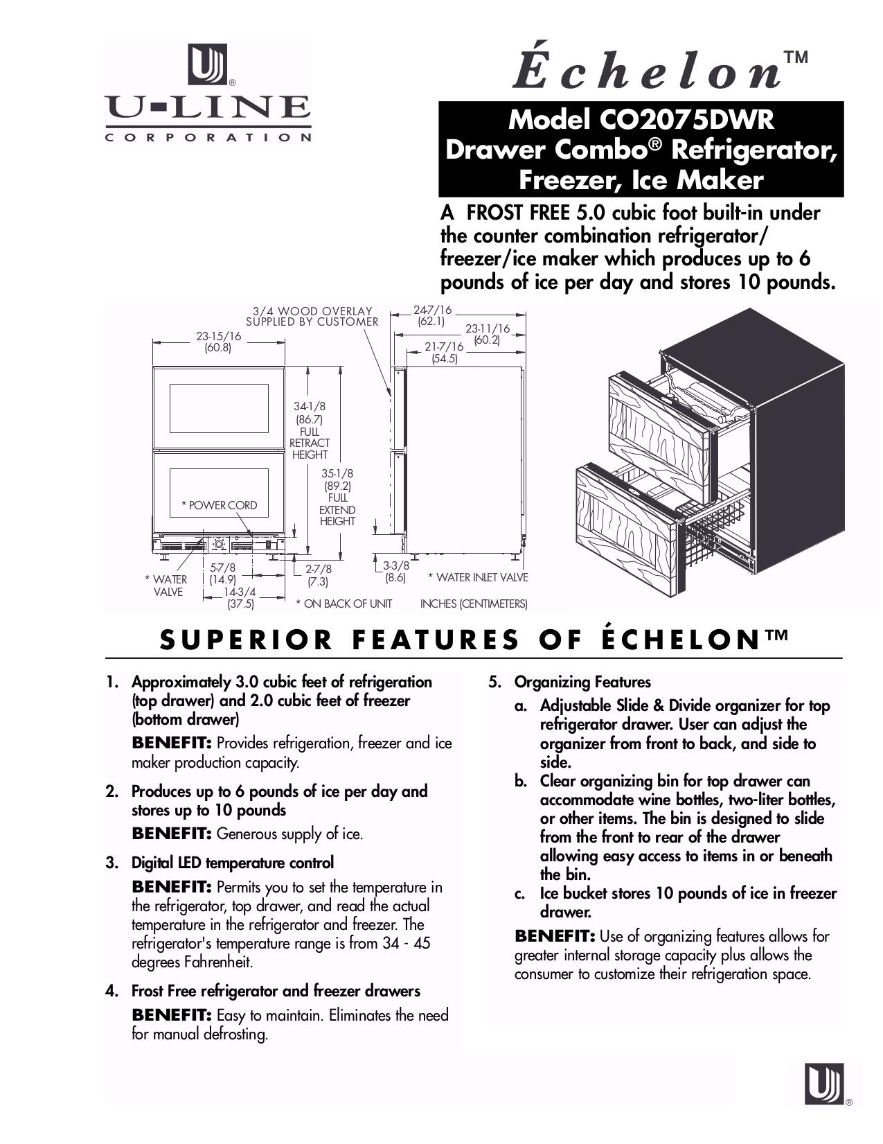 pdf for U-Line Refrigerator Echelon CO2075DWR manual
