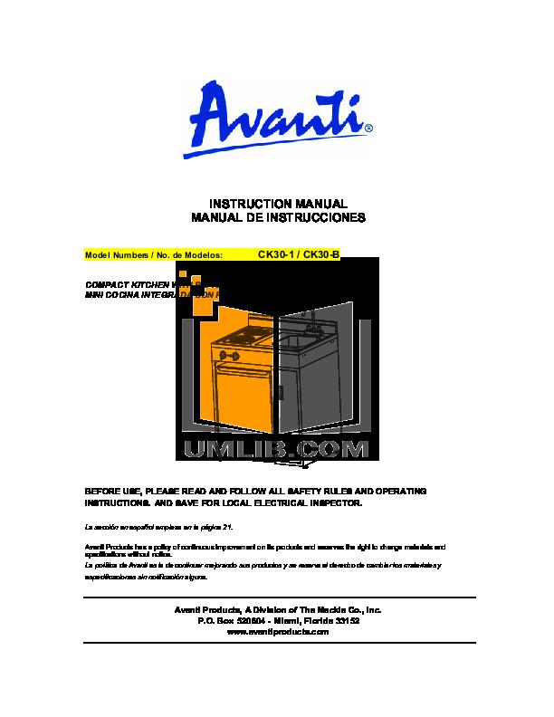 pdf for Avanti Refrigerator CK30-B manual