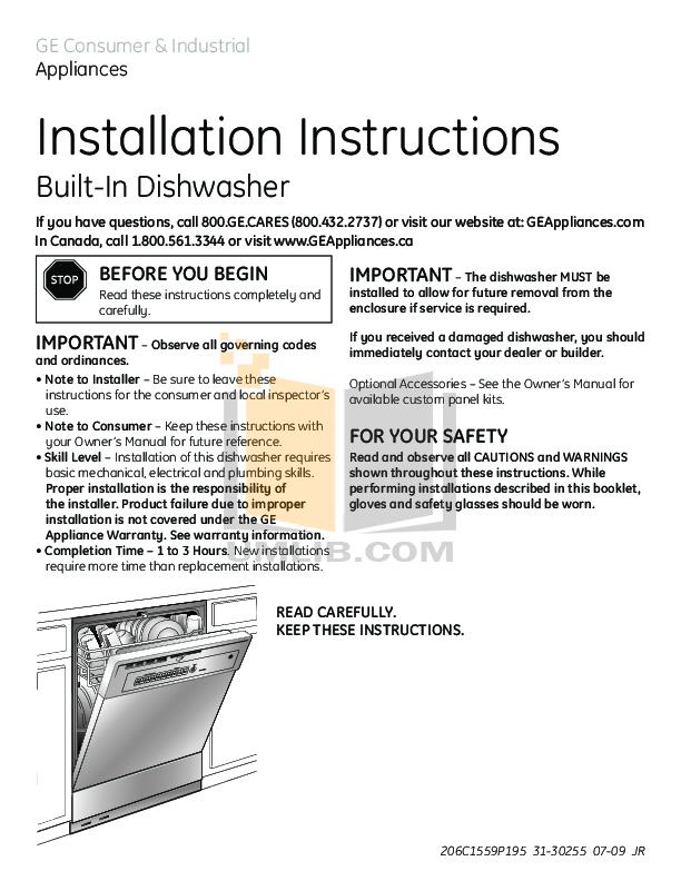 pdf for GE Dishwasher GSD4060VSS manual