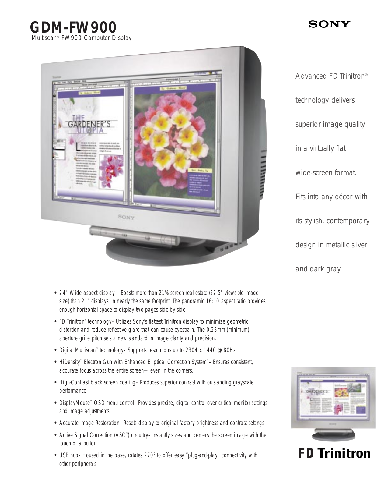 pdf for Sony Monitor GDM-W900 manual