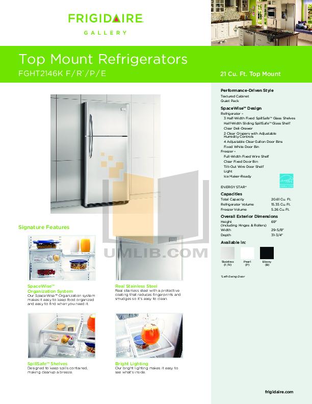 pdf for Frigidaire Refrigerator Gallery FGHT2146K manual