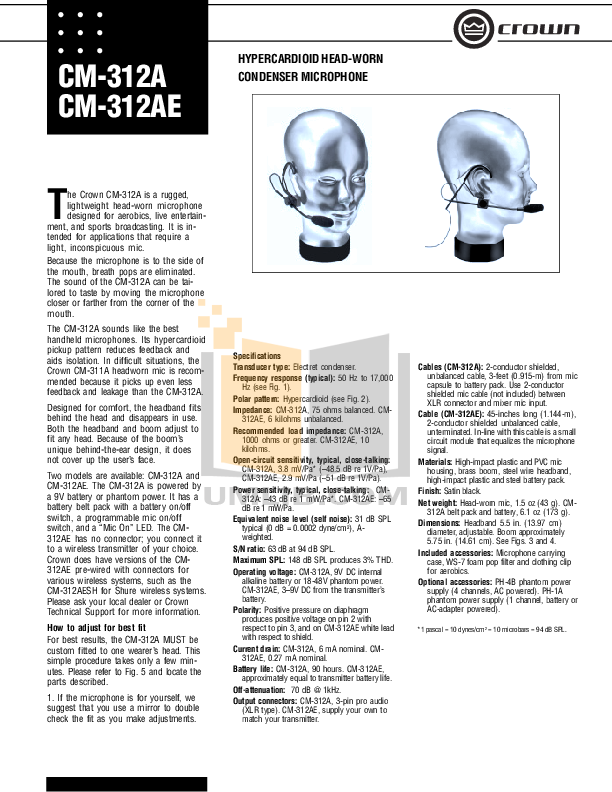 pdf for Crown Other CM-311A Microphones manual