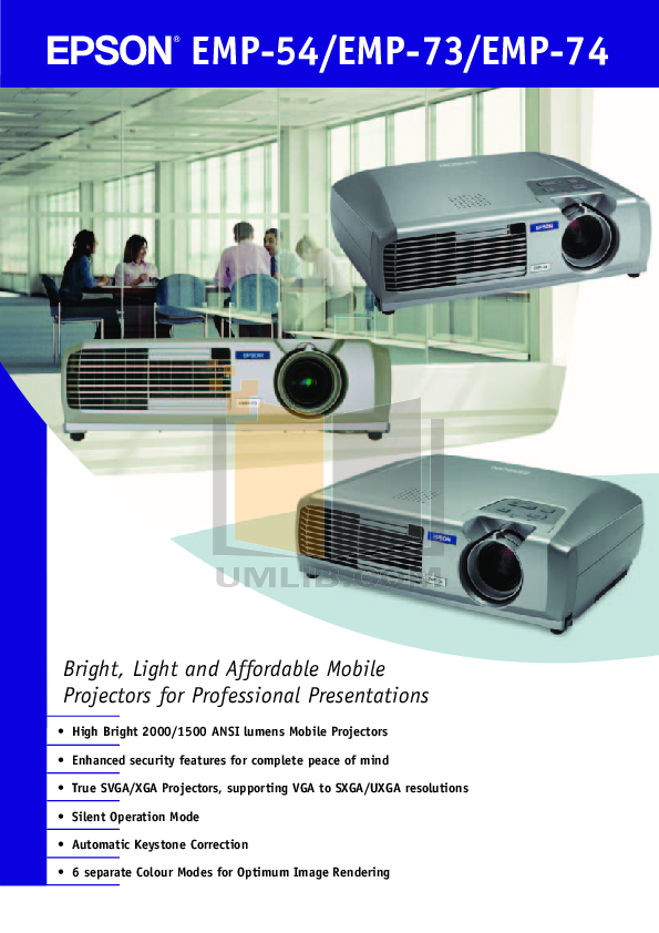 pdf for Epson Projector EMP-73 manual