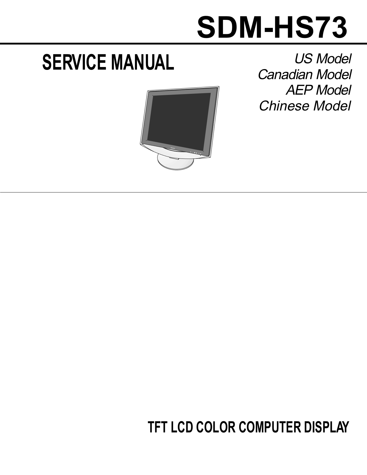 pdf for Sony Monitor SDM-HS73P manual