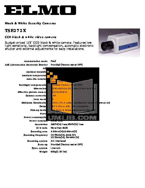 pdf for Elmo Security Camera TSE272X manual