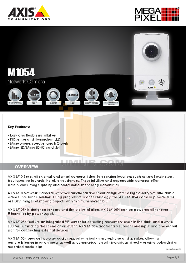 pdf for Axis Security Camera M1054 manual