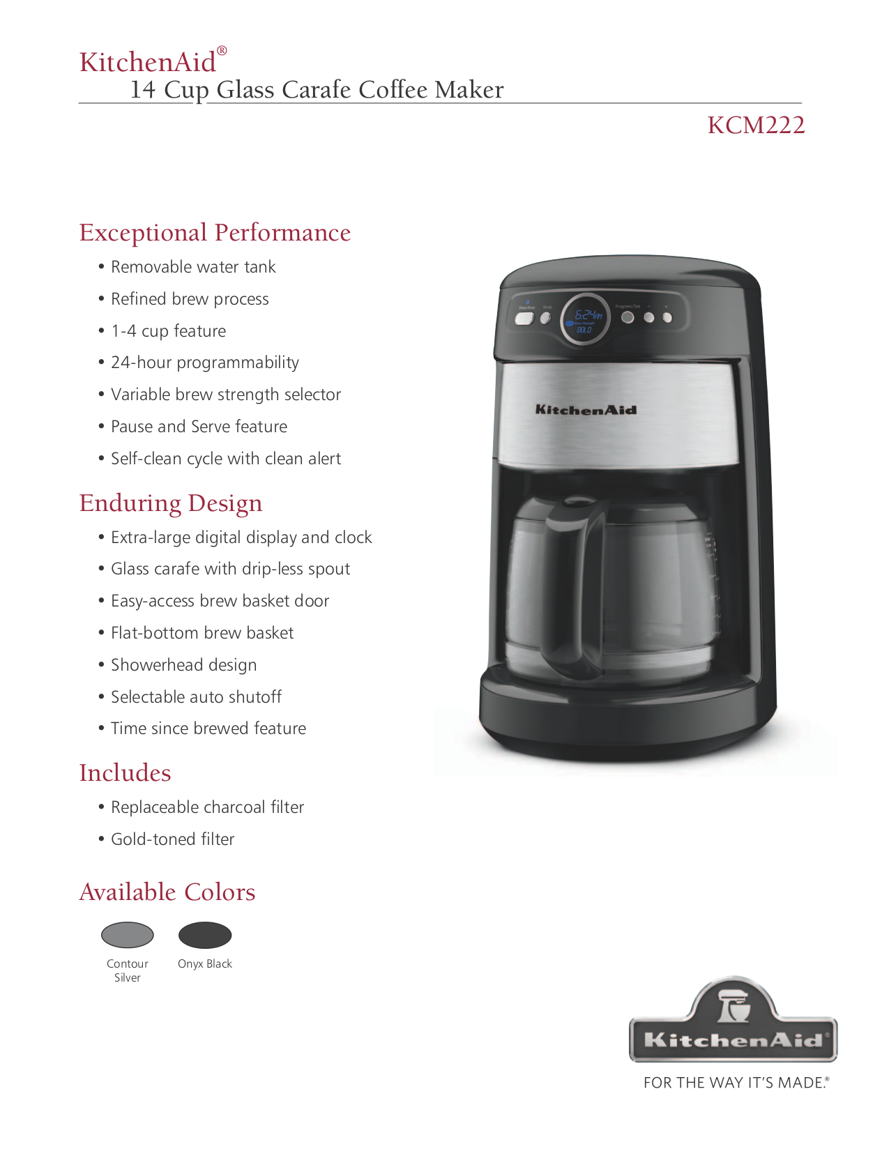 Kitchenaid Coffee Maker Operating Manual : Download free pdf for KitchenAid KCM222 Coffee Maker manual
