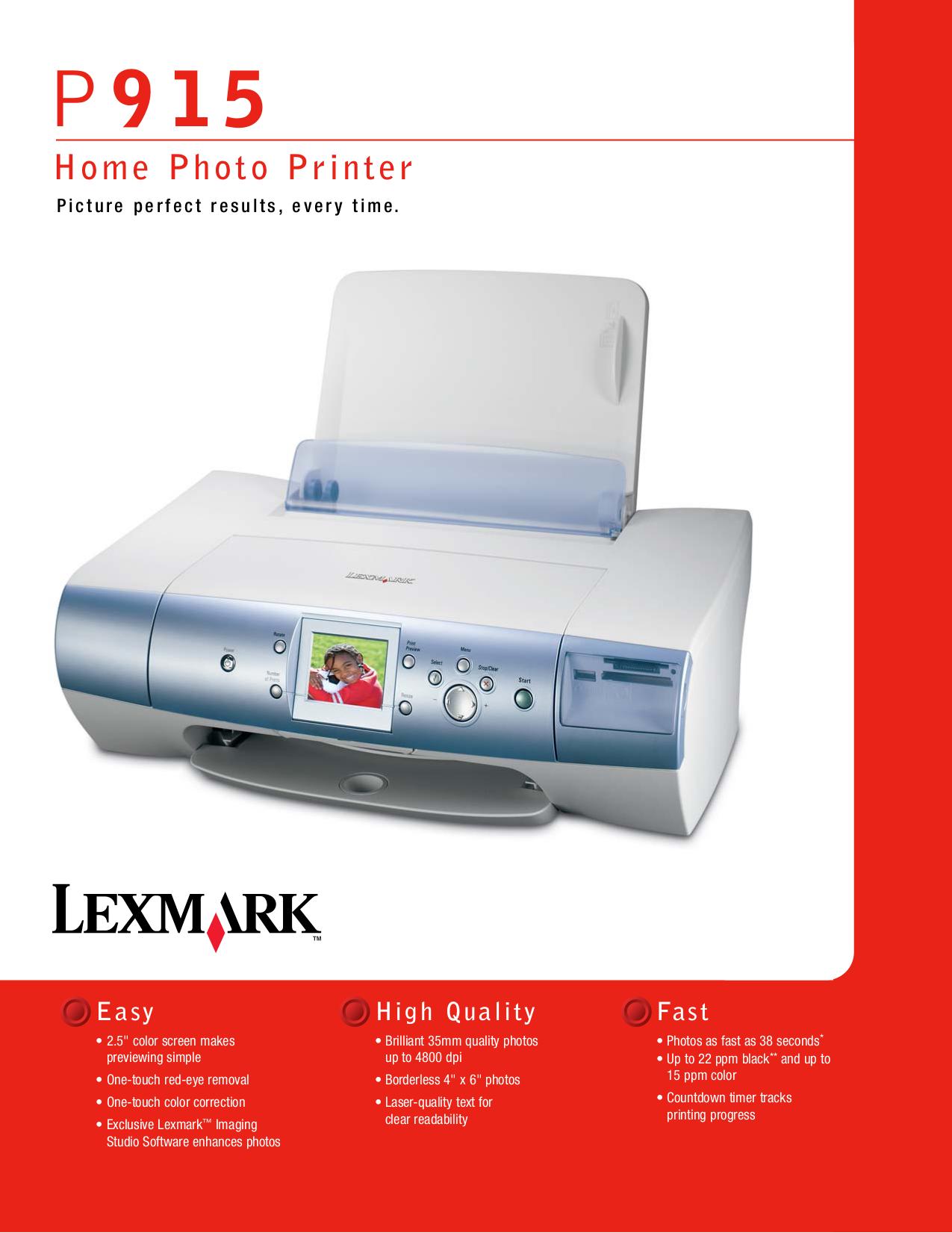 Download free pdf for Lexmark P915 Printer manual