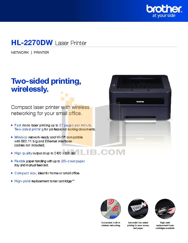 download free pdf for brother hl 2270dw printer manual rh umlib com Brother HL 2275Dw Troubleshooting Brother Printer HL-2270DW