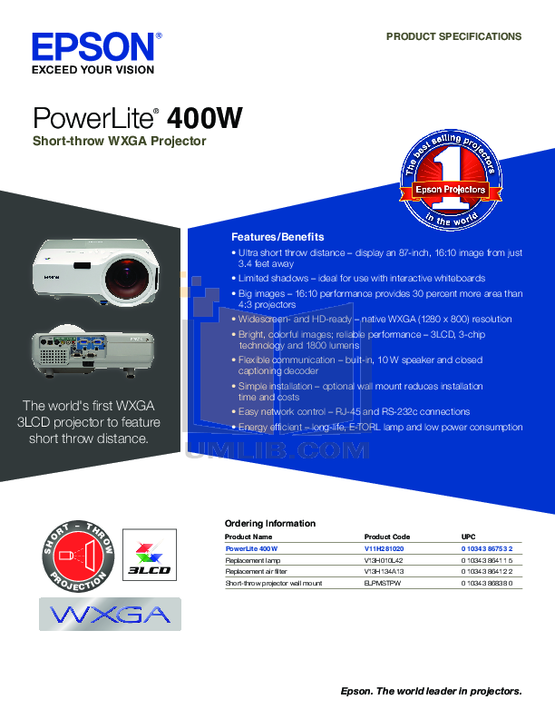 pdf for Epson Projector PowerLite 400W manual