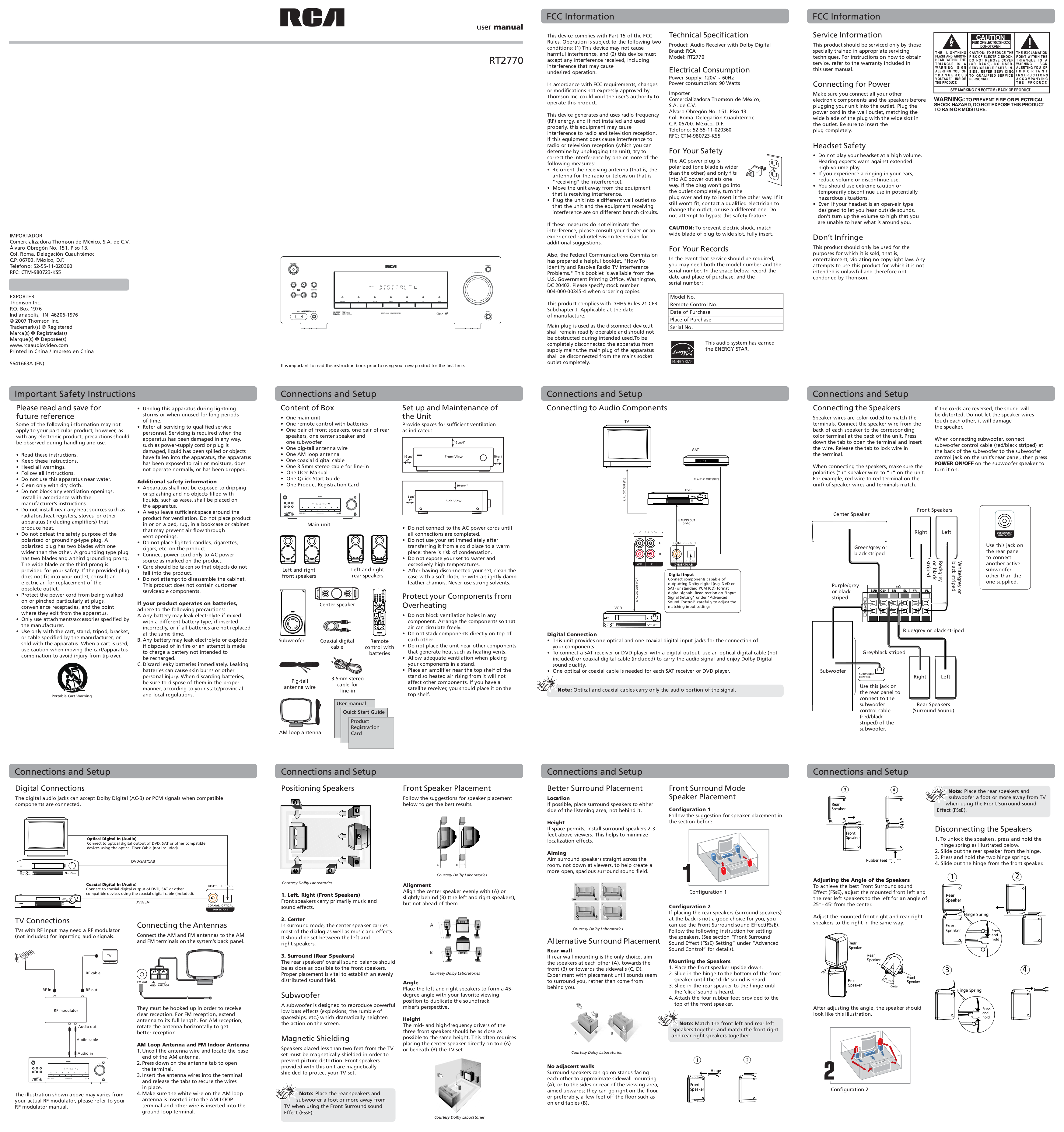 download free pdf for rca rt2770 home theater manual. Black Bedroom Furniture Sets. Home Design Ideas
