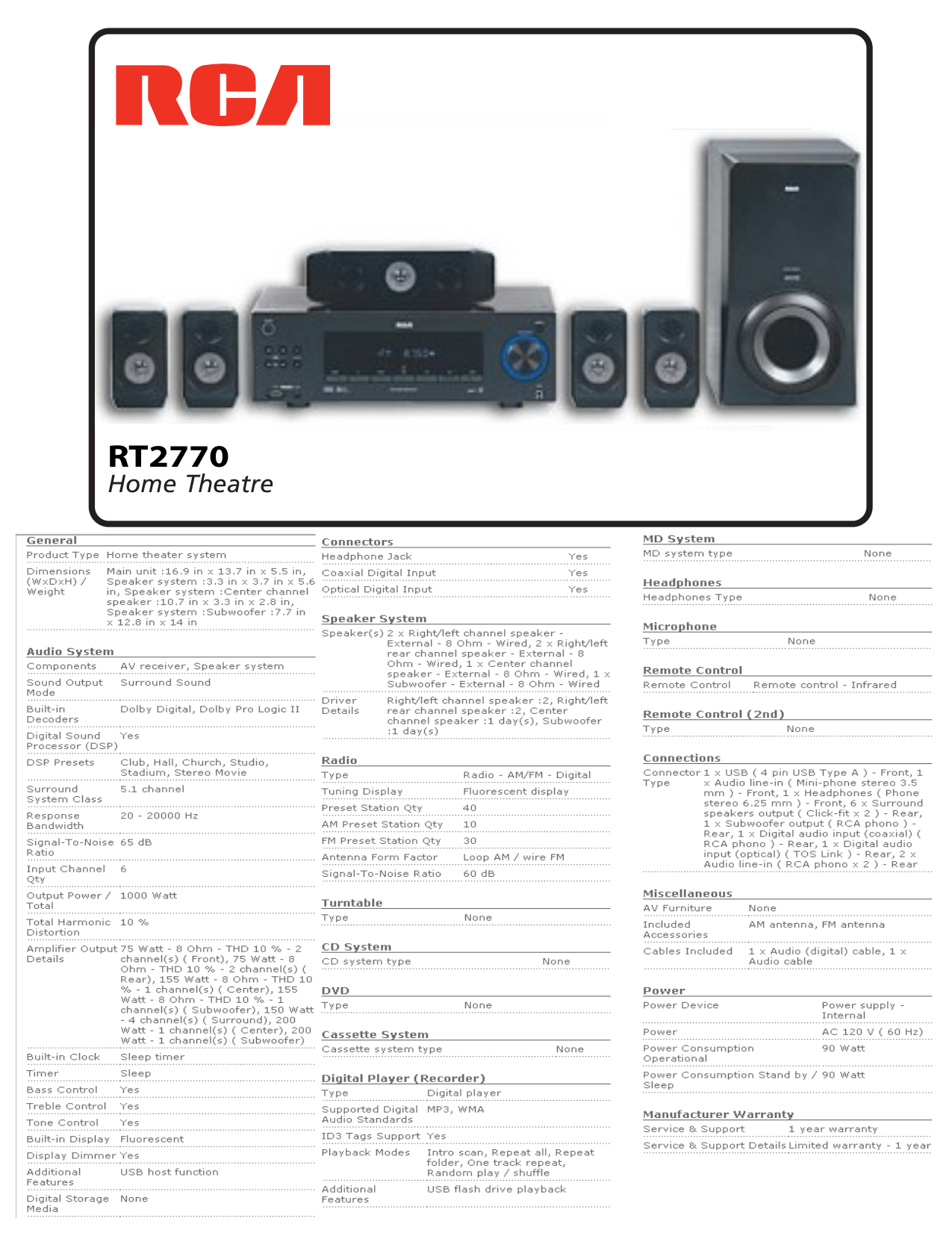 download free pdf for rca rt2770 home theater manual rh umlib com RCA Home Theater System Rt2781h RCA RTD317W Home Theater System