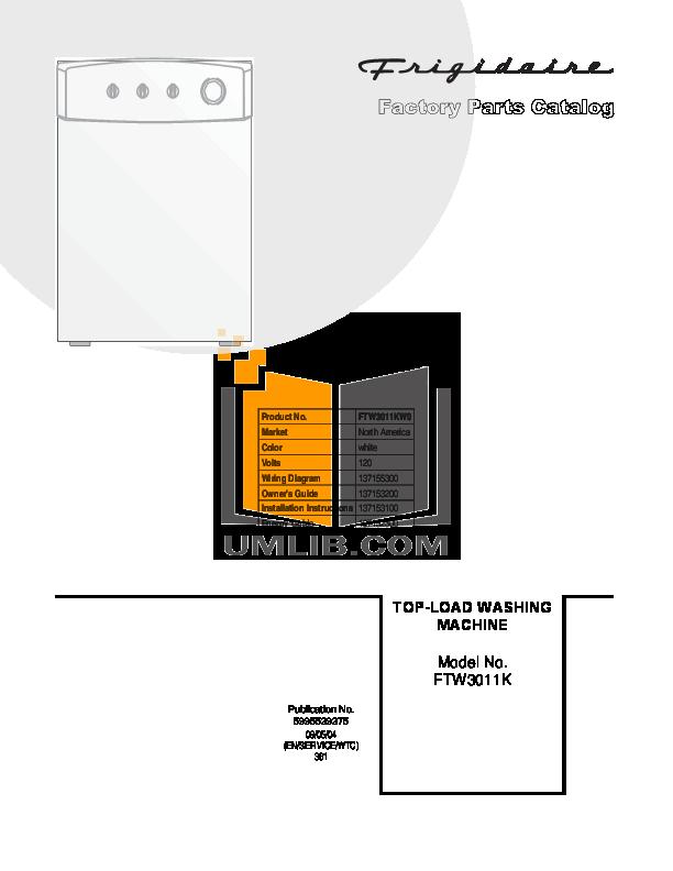 pdf for Frigidaire Washer FTW3011K manual