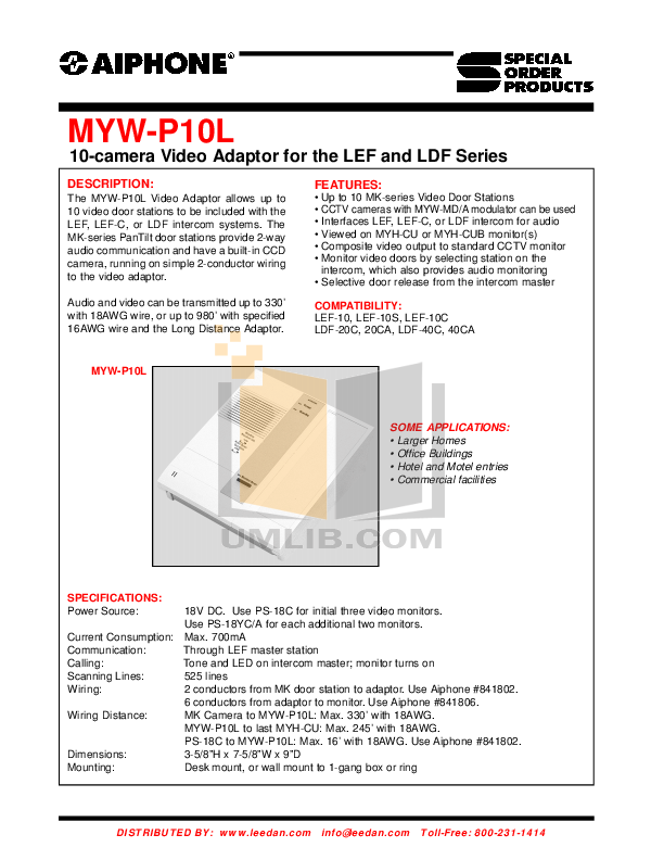 AIPHONE MYW P10L.pdf 0 wat download free pdf for aiphone lef 10 intercoms other manual aiphone lef 10 wiring diagram at soozxer.org
