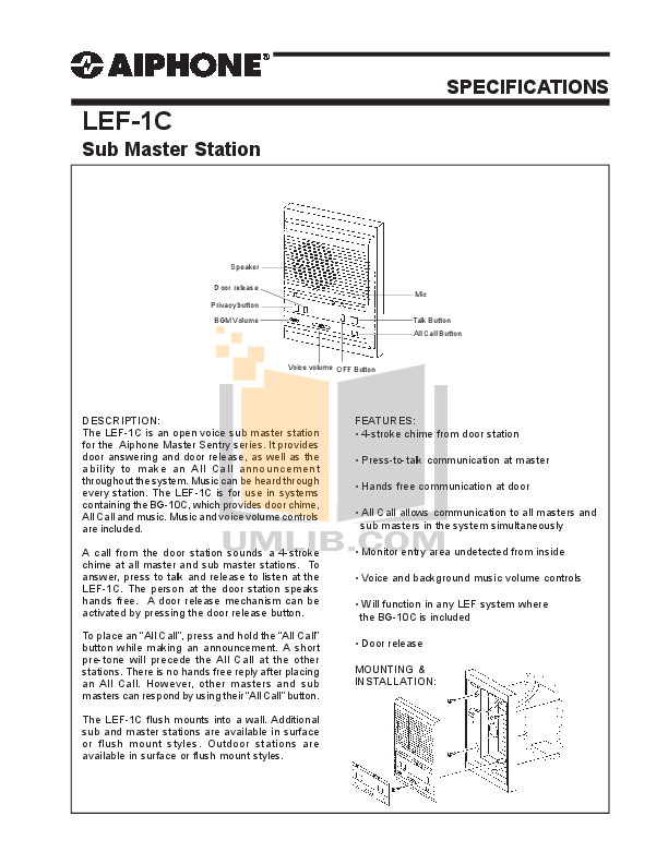 pdf for Aiphone Other LEF-10 Intercoms manual