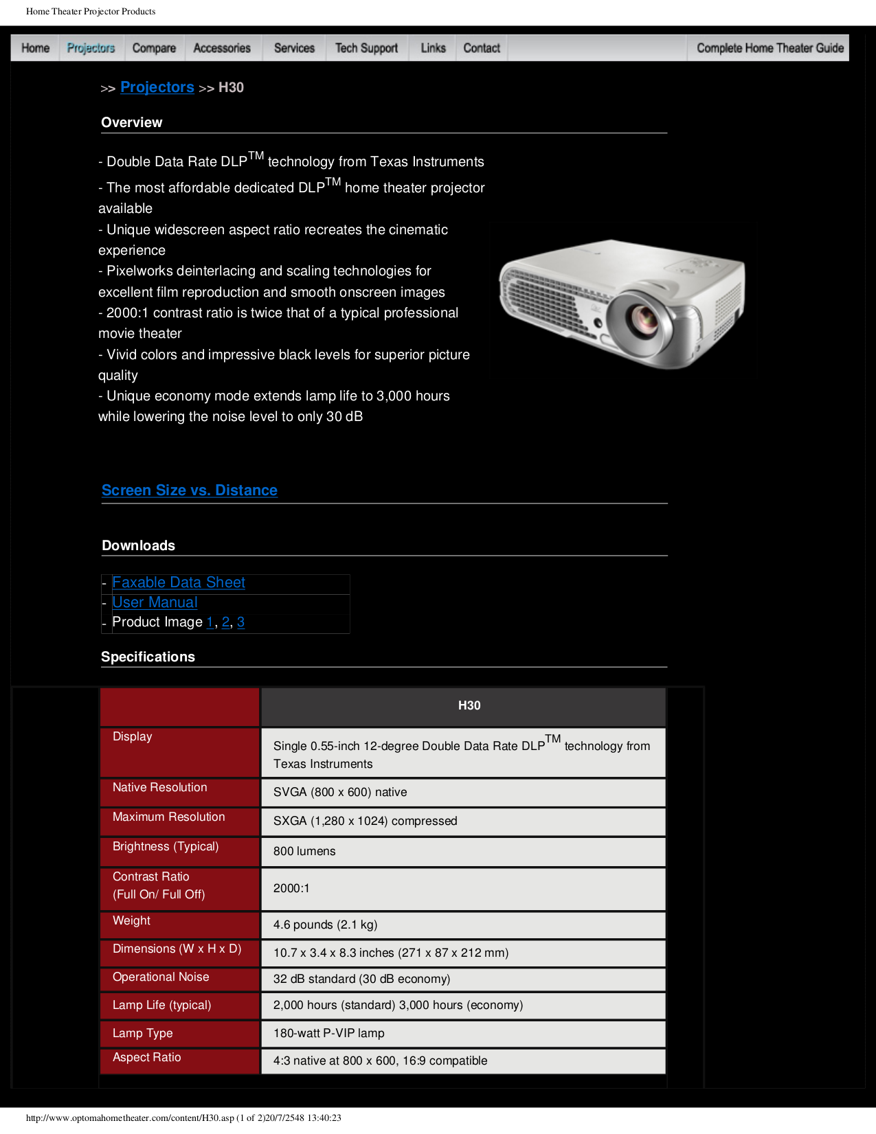 Optoma Projector H30 pdf page preview