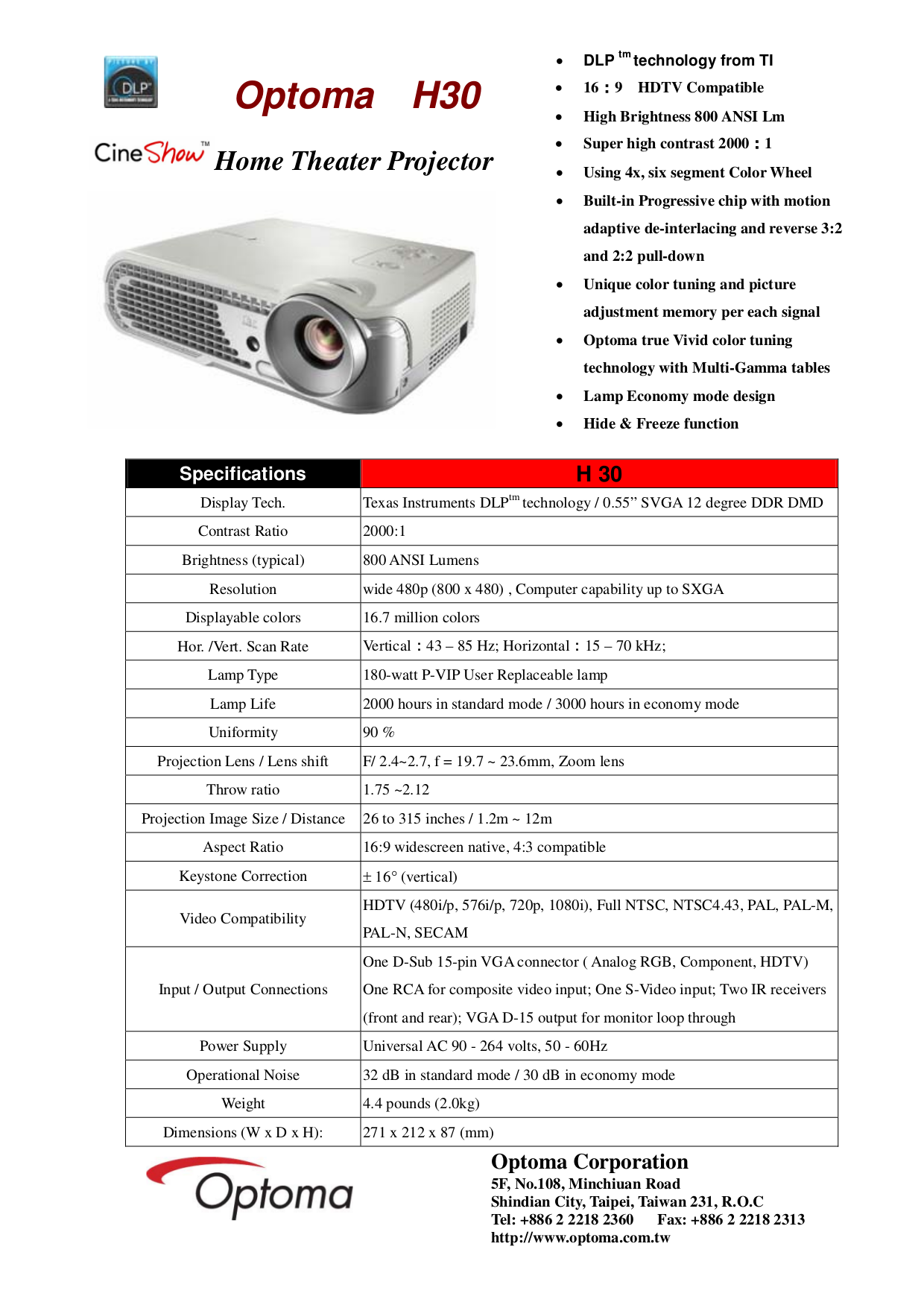 pdf for Optoma Projector H30 manual
