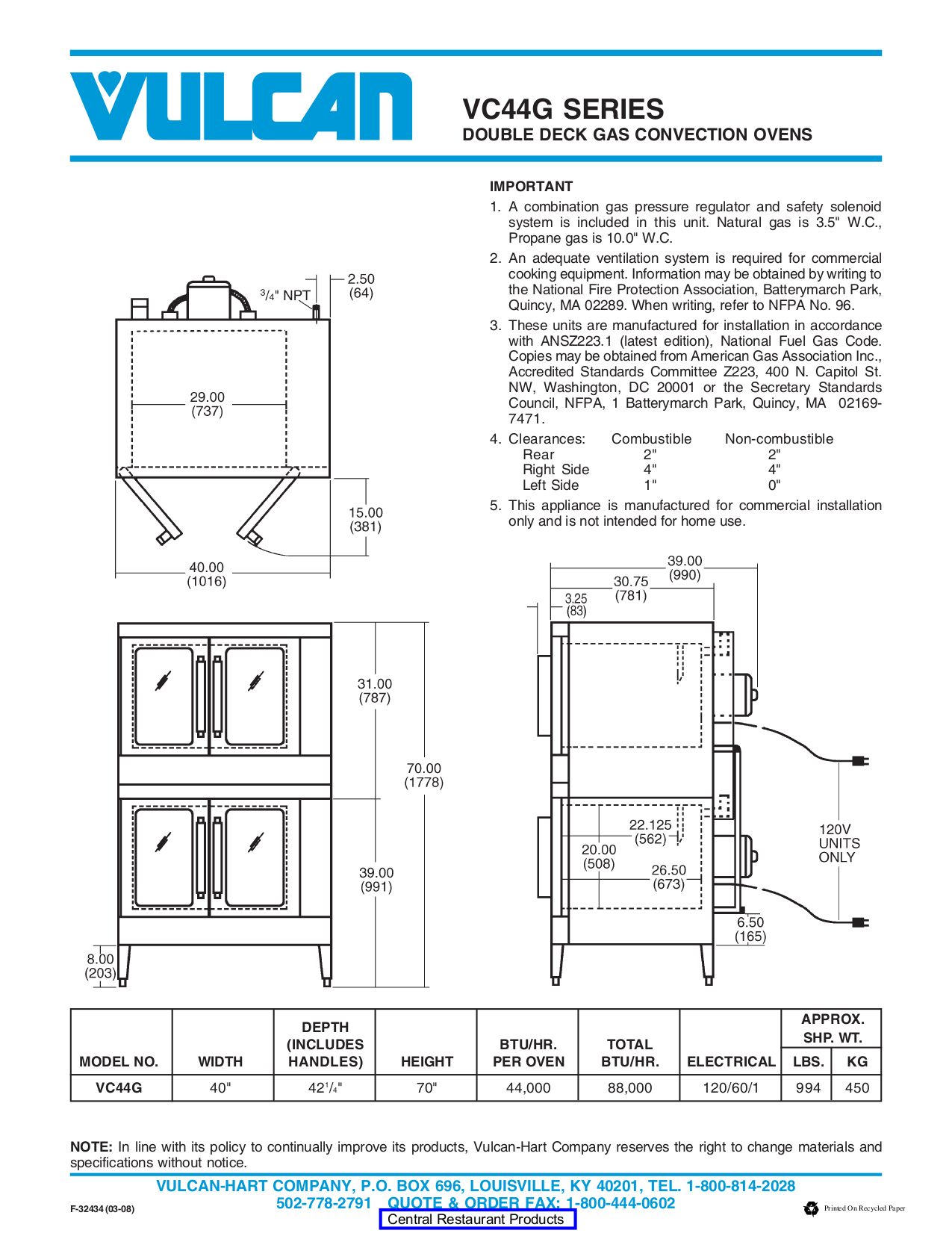 Vulcan Oven VC44GC pdf page preview