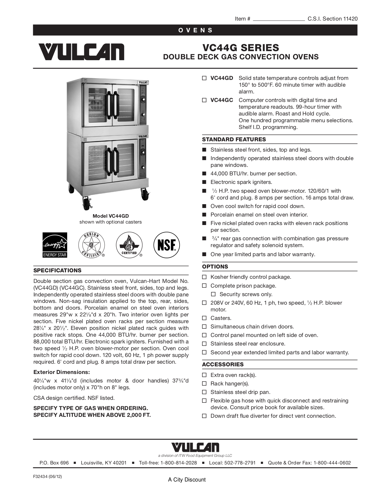 pdf for Vulcan Oven VC44GC manual