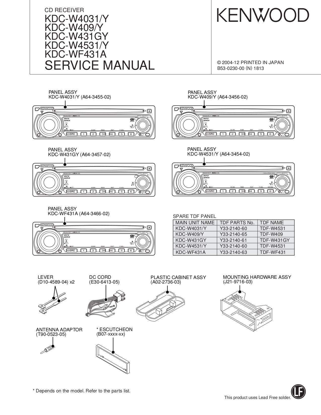 Download Free Pdf For Kenwood Kdc 83r Car Receiver Manual Mp4028 Wiring Diagram