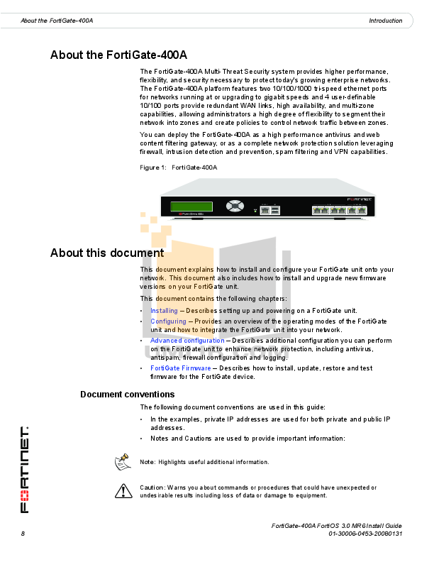 Fortinet Router FortiGate FortiGate-400A pdf page preview