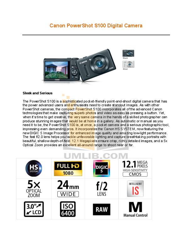 Canon Digital Camera Powershot S100 pdf page preview